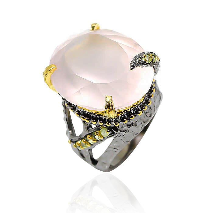 Кольцо серебряное с натуральным розовым кварцем размер 17.5