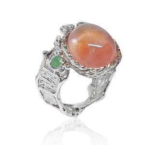 Кольцо серебряное с натуральными рубином изумрудами размер 17.5