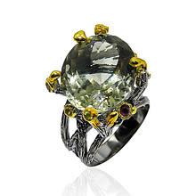 Кольцо серебряное с зеленым аметистом размер 17.5