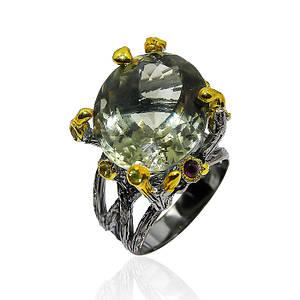 Кольцо серебряное с натуральным зеленым аметистом размер 17.5