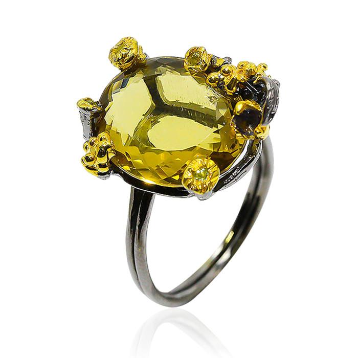 Кольцо серебряное с натуральным цитрином размер 18