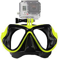 Набор для плавания маска с трубкой с креплением для камеры, для дайвинга и снорклинга Scuba M1800 Синяя Желтый