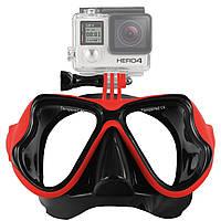 Набор для плавания маска с трубкой с креплением для камеры, для дайвинга и снорклинга Scuba M1800 Синяя Красный