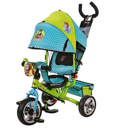Детский трехколесный велосипед Turbo Trike М 0156-01 Маша и Медведь, цвет зелено-голубой, фото 2