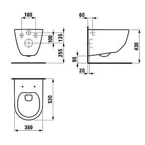 Комплект: PRO Rimless унитаз подвесной H820966+сидение slow-closing, инсталляция Rapid SL 38772001, фото 2