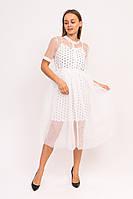 Нарядное фатиновое платье с коротким рукавом A-M - белый цвет, M (есть размеры)