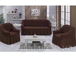 Чехлы на Диван и 2 Кресла с Оборкой Модель 201