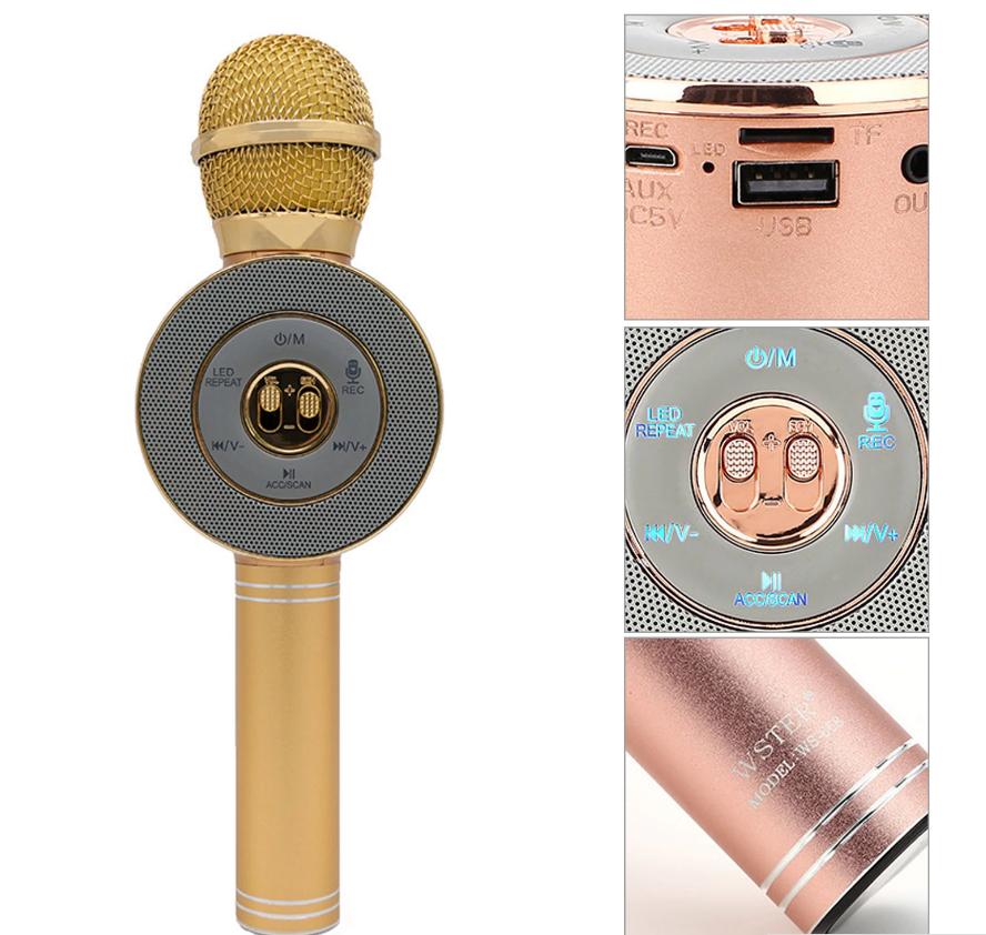 Акция! Bluetooth микрофон-караоке WS-668 с цветомузыкой, слотом USB и FM тюнером золотой