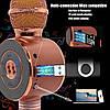 Акция! Bluetooth микрофон-караоке WS-668 с цветомузыкой, слотом USB и FM тюнером золотой, фото 5