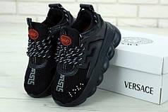 Мужские кроссовки версаче, Versace Chain Reaction Sneakers Black/Black. ТОП Реплика ААА класса.