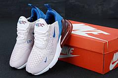 Женские кроссовки Nike Air Max 270 White/Blue/Red . ТОП Реплика ААА класса.