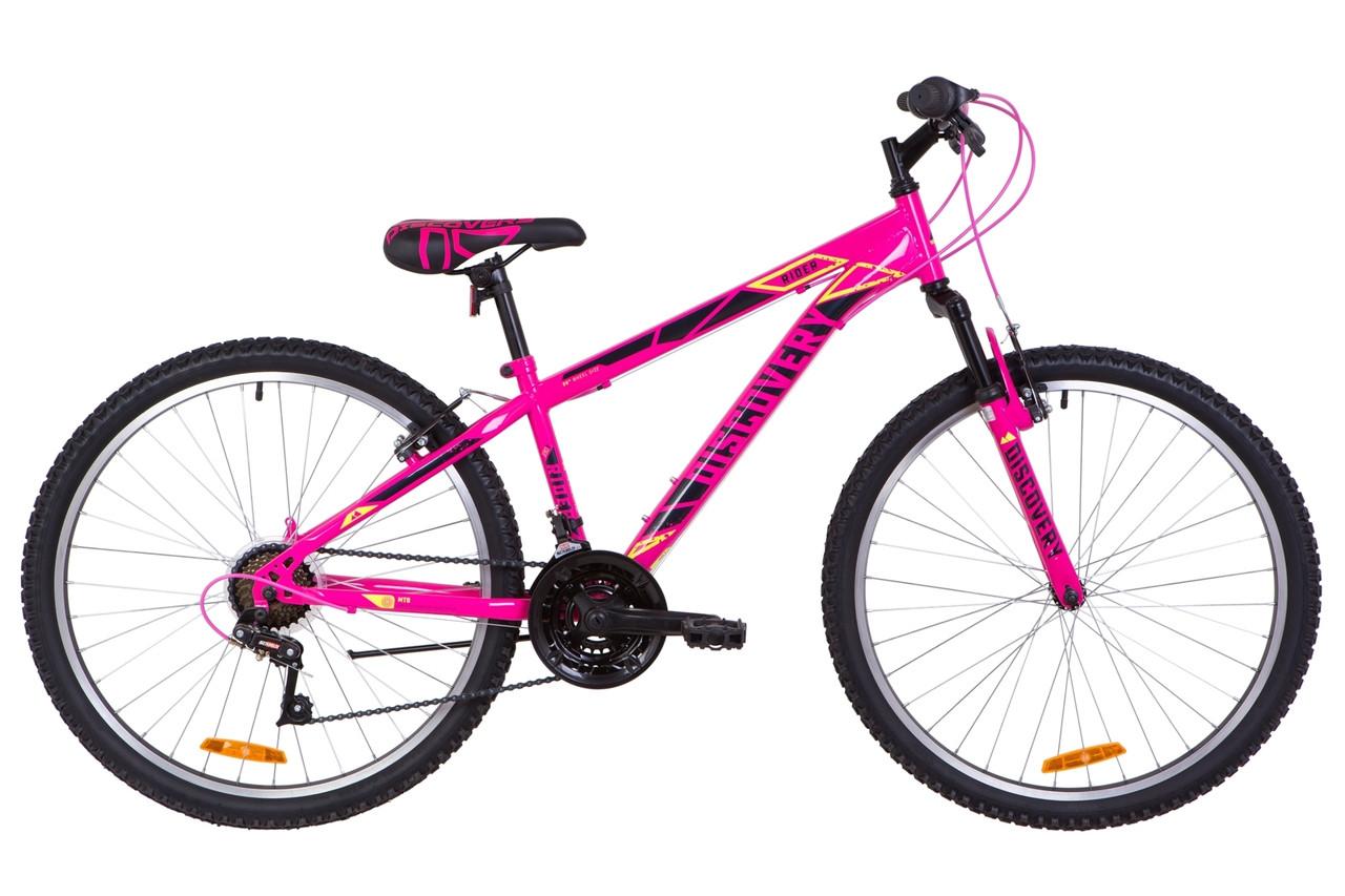 """Велосипед горный 26"""" Discovery RIDER AM Vbr 2019 (рама 13"""", малиново-черный с желтым)"""