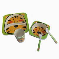 Детская бамбуковая посуда Тигр, набор из 2-х тарелок, чашки, ложки и вилки BP7 Tiger - 149779
