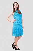 Короткое летнее платье модного кроя с коротким рукавом