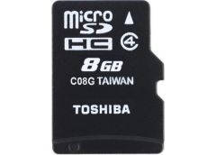 Карта памяти Toshiba micro SDHC 8Gb Class 4 M102 + SD адаптер [814003]