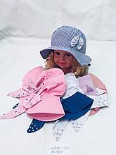 Детская красивая летняя панамка для девочки с бантиком р. 50