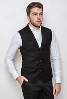 Пиджак мужской без рукавов 2101 стильный приталенный черный (пиджаки молодежные)