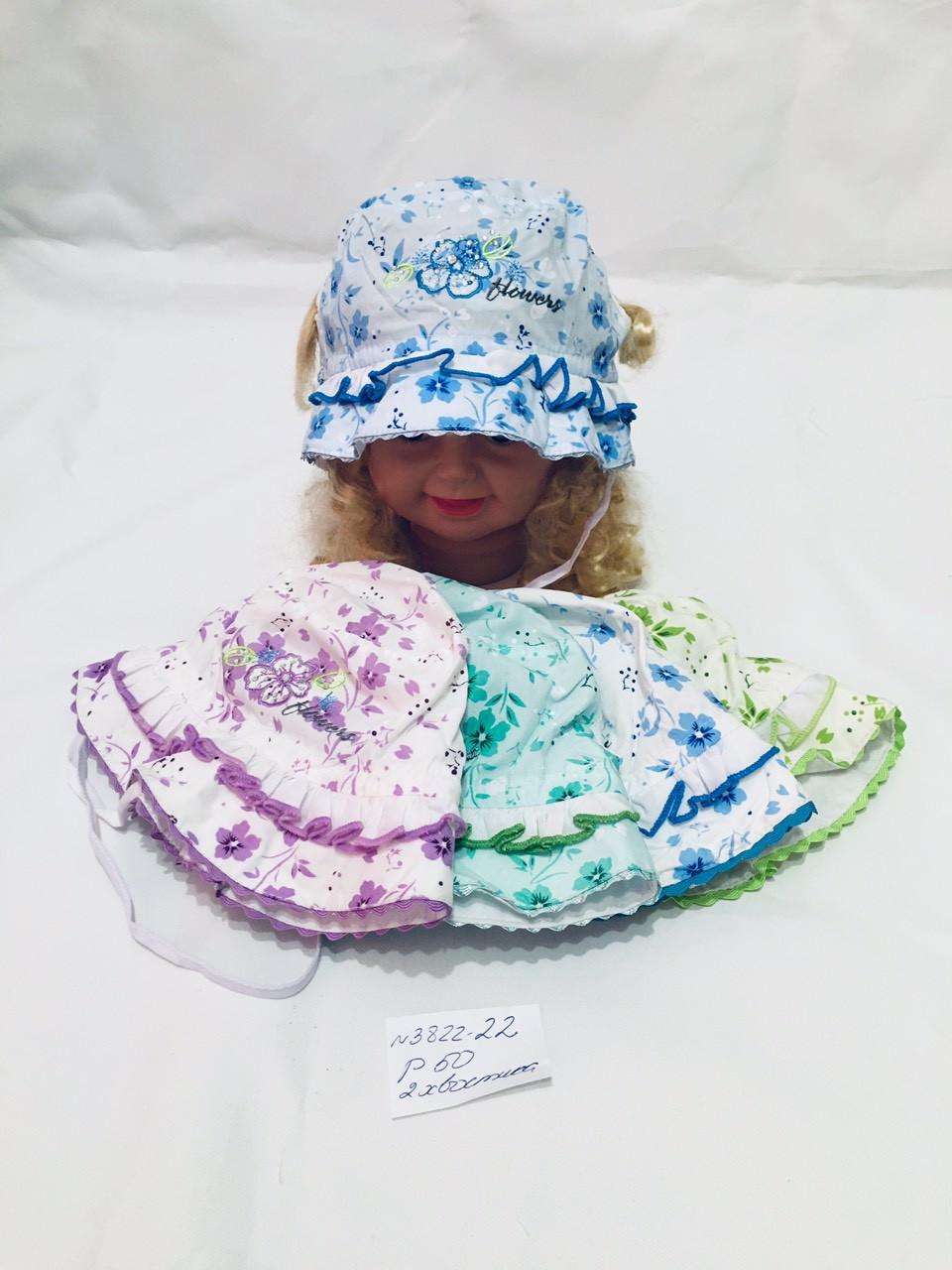 Детская модная панамка на лето с двумя вырезами для хвостиков для девочки р.50