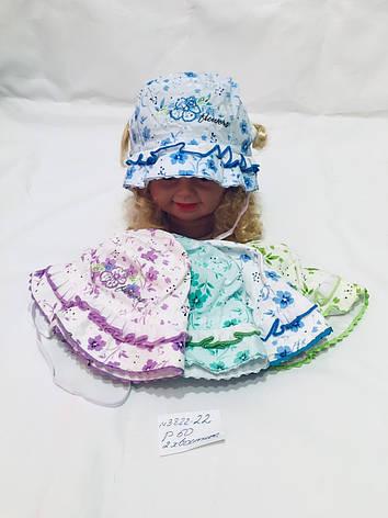 Детская модная панамка на лето с двумя вырезами для хвостиков для девочки р.50, фото 2