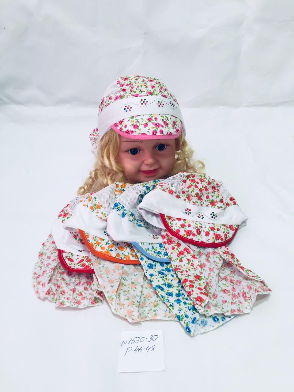 Детская  красивая панамка-косынка с сеткой на лето  для девочки Цветочки р.46-48