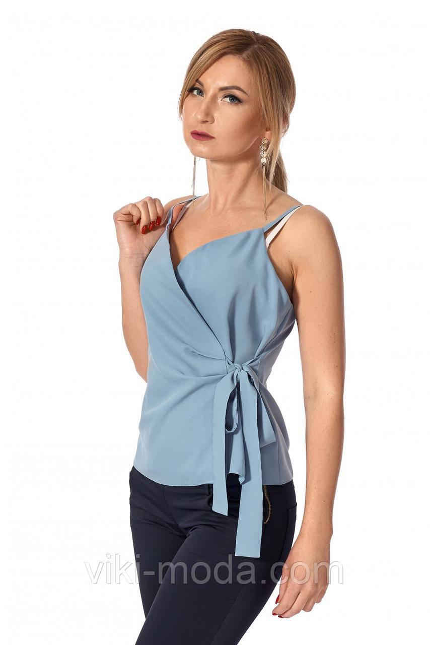 Женский стильный топ на запах, на тонких бретелях, ткань софт, голубого цвета