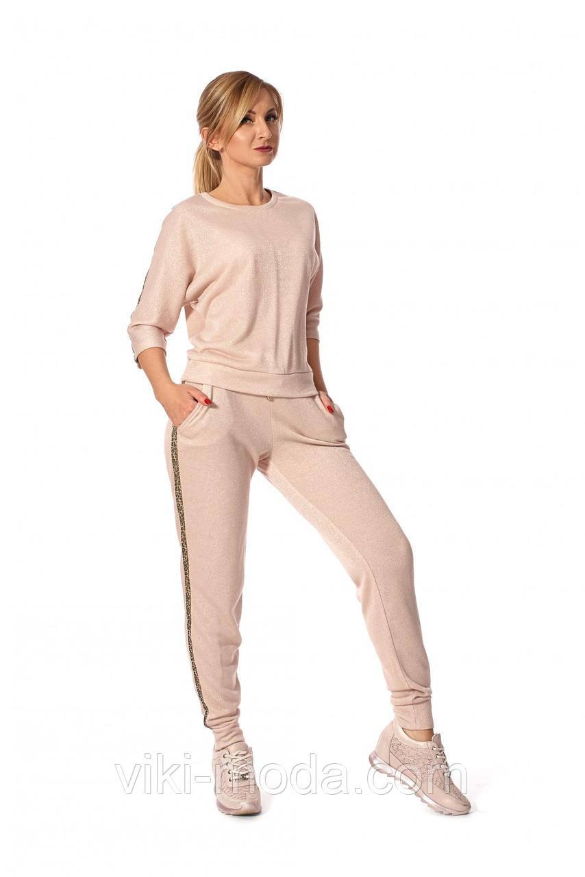 Стильный, женский спортивный костюм, пудрового цвета