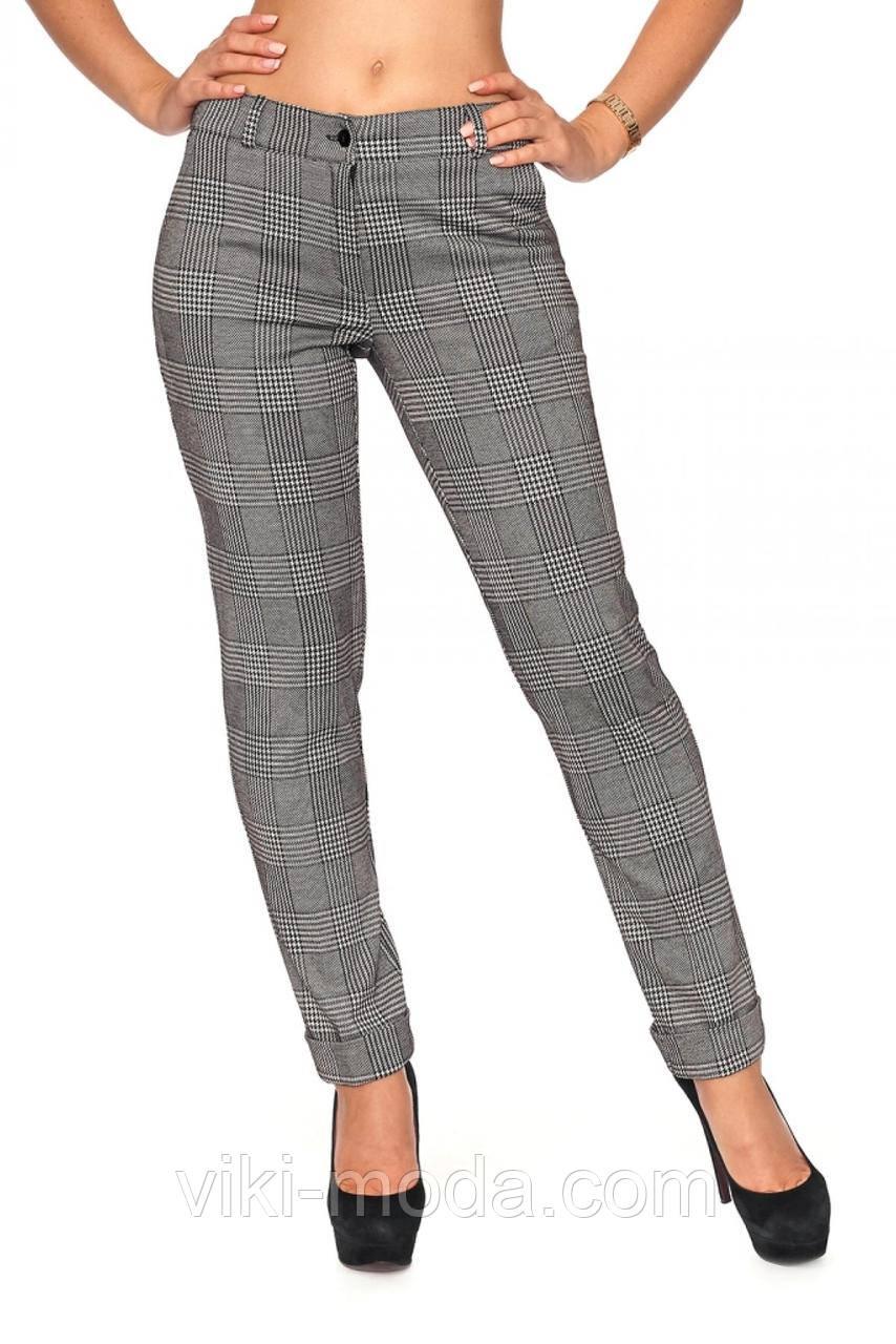 Стильные женские брюки в клетку, ткань тиар костюмный