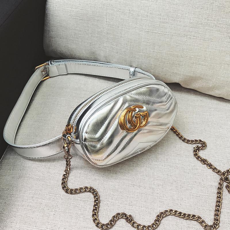 Женская поясная сумка на пояс с цепочкой в стиле Gucci (Гуччи) серебристая