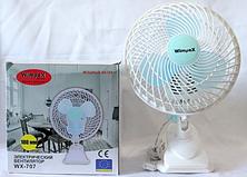 Настольный вентилятор Table Fan WX-707 25 Ват с прищепкой Wimpex мини вентилятор вентилятор прищепка, фото 2