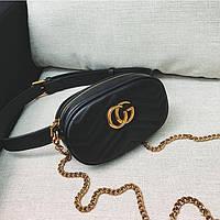 Женская поясная сумка на пояс с цепочкой в стиле Gucci (Гуччи) черная, фото 1