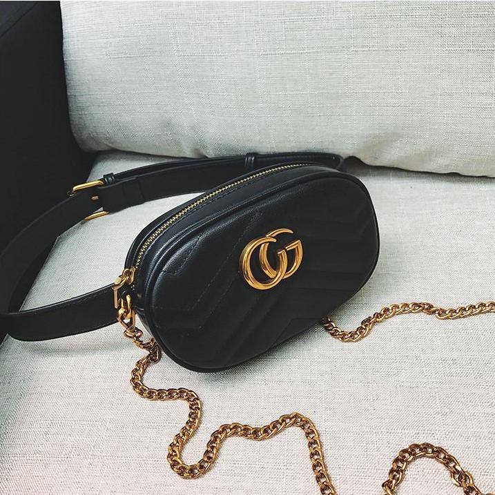 Женская поясная сумка на пояс с цепочкой в стиле Gucci (Гуччи) черная