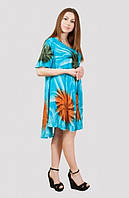 Красивое летнее платье модного кроя с удлиненной спинкой