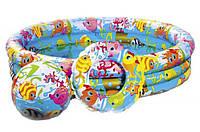 Детский надувной бассейн  Аквариум с мячом и кругом Intex 59469  (132 х 28 см), фото 1