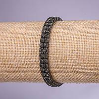 Браслет стразовый двухрядный черные стразы, диаметр 4мм, толщина 7мм темный металл
