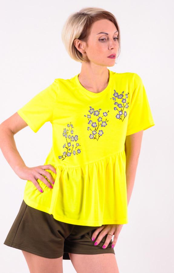 Женская футболка желтая Сакура/фиолет размеры 40-46