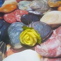 Роза на шпильке из фоамирана, желтая