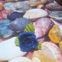 Роза на шпильке из глитерного фоамирана, синяя