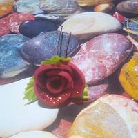 Роза на шпильке из глитерного фоамирана, красная