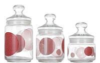 Набор банок для сыпучих продуктов 3 шт Constellation Red Club Luminarc N1637/H9958