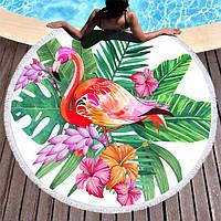 """Пляжное полотенце-покрывало 150*150 см микрофибра """"Фламинго"""""""