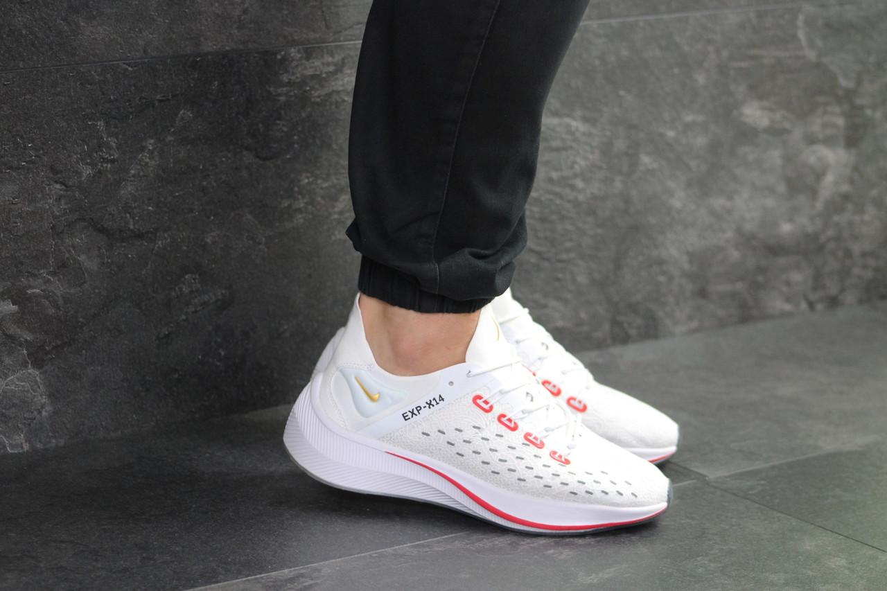 Кроссовки найк белые красные демисезонные спортивные для фитнеса (реплика) Nike EXP-X14 White Red