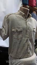 Мужская рубашка большого размера Jean Piere лён с коротким рукавом приталенная батал