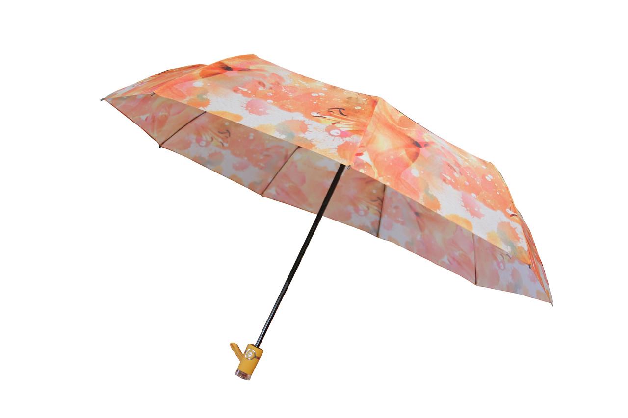 Красочный женский зонт автомат на 9 спиц с абстрактным рисунком