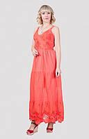 Длинный женский сарафан модного кроя в ярком цвете от производителя