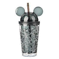 Бутылка Микки Маус Ice Cup 450 мл, черная Уценка (примята упаковка)
