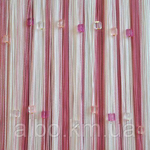 Нити шторы с камнями радуга 300x280 cm Розово-малиново-белые (Ki-5003)