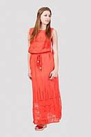 Стильное хлопковое платье в пол с поясом модного цвета