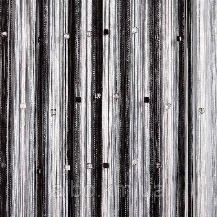 Кисея шторы с камнями радуга 300x280 cm Черно-бело-серые (Ki-5002)