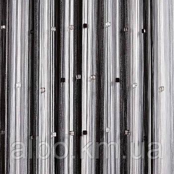 Кисея шторы с камнями радуга 300x280 cm Черно-бело-серые (NK-203)