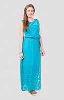 Отличное длинное платье модного кроя с поясом материал хлопок